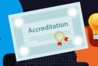 accreditation authorized organization business certificate paper with stamp vector